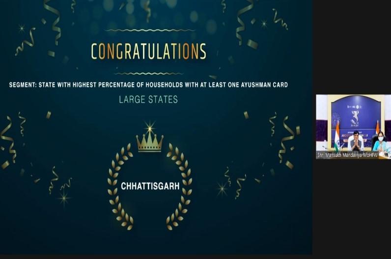 इस योजना में श्रेष्ठ प्रदर्शन के लिए छत्तीसगढ़ को मिले चार राष्ट्रीय पुरस्कार, केन्द्रीय मंत्री मनसुख भाई मंडाविया ने किया सम्मानित