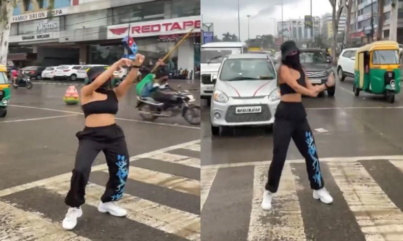 सिग्नल पर अचानक डांस करने लगी मॉडल, देखकर हैरान रह गए लोग, थम गए वाहनों के पहिए